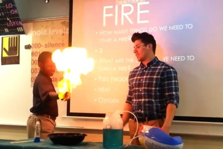science teacher fire experiment