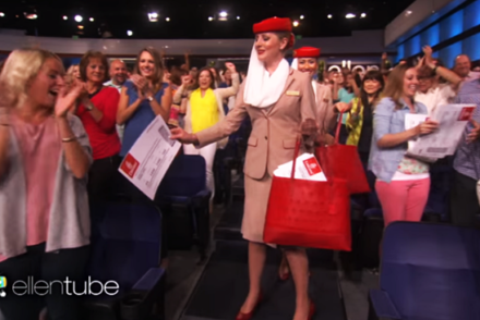 emirates ellen show free flights